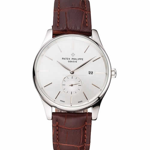Patek Philippe Calatrava Date Silver Dial Stainless Steel Case Brown Leather Strap