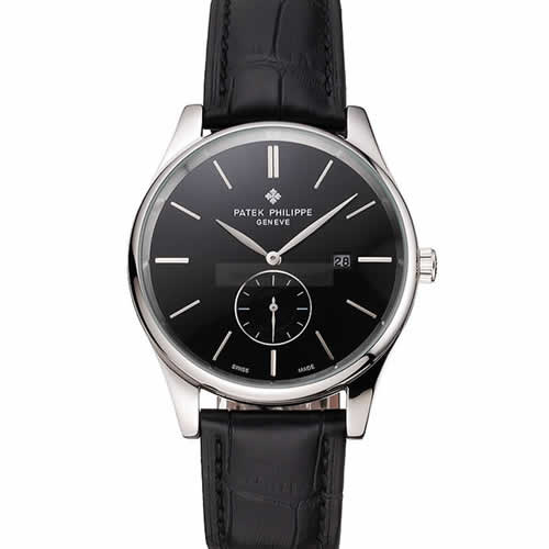 Patek Philippe Calatrava Date Black Dial Stainless Steel Case Black Leather Strap