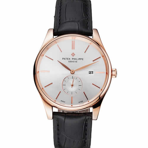 Patek Philippe Calatrava Date White Dial Rose Gold Case Black Leather Strap