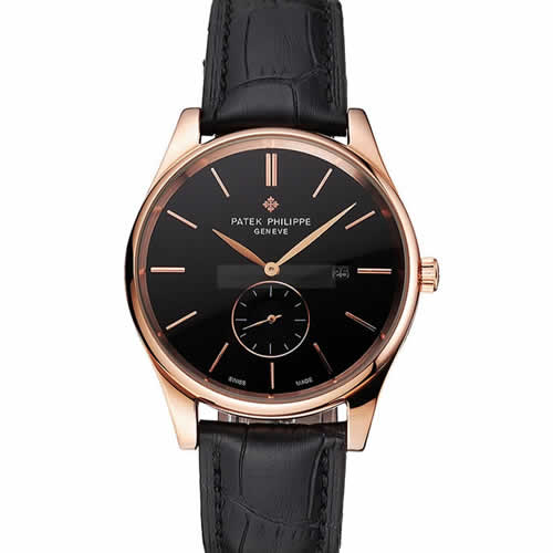 Patek Philippe Calatrava Date Black Dial Rose Gold Case Black Leather Strap