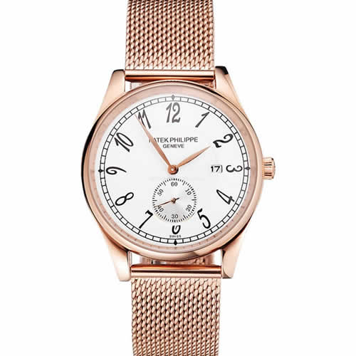 Patek Philippe Calatrava Small Seconds White Dial Rose Gold Case And Bracelet