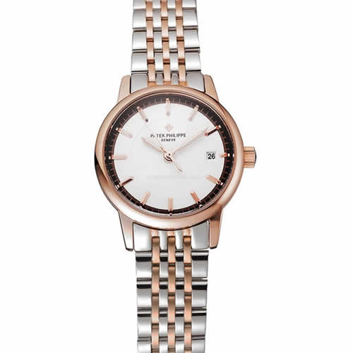 Patek Philippe Calatrava Ladies White Dial Rose Gold Case Two Tone Bracelet 1453832