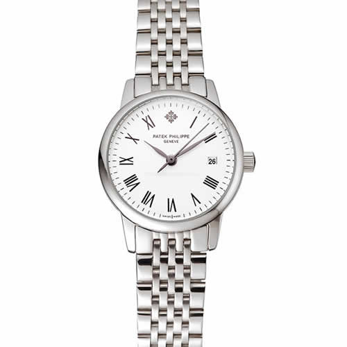 Patek Philippe Calatrava Ladies White Dial Stainless Steel Case And Bracelet 1453834