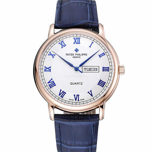 Patek Philippe Calatrava White Dial Blue Roman Numerals Gold Case Blue Leather Bracelet 1454056