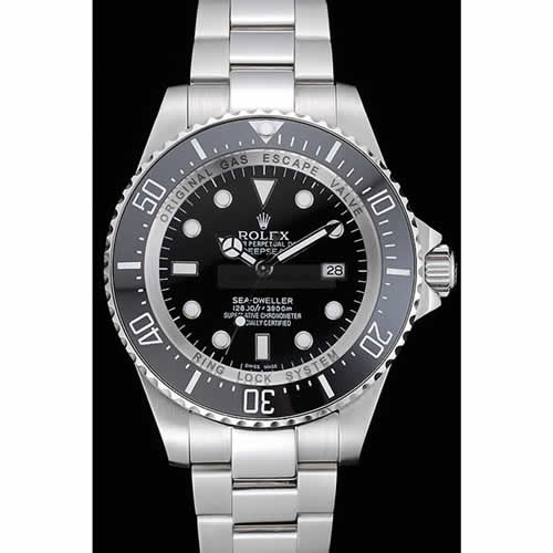 Rolex Sea Dweller Stainless Steel Bracelet Black Dial Watch