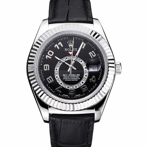 Rolex Sky Dweller Black Dial Stainless Steel Case Black Leather Strap