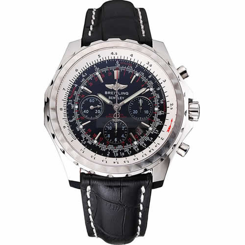 Swiss Breitling Bentley Black Croco Leather Bracelet Black Dial 80286