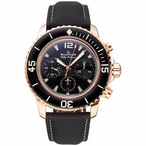 Swiss Blancpain Fifty Fathoms Flyback Chronograph Black Dial Black Bezel Rose Gold Case Black Canvas Strap