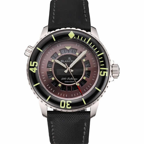 Swiss Blancpain 500 Fathoms GT Carbon Fiber Dial Stainless Steel Case Black Canvas Strap