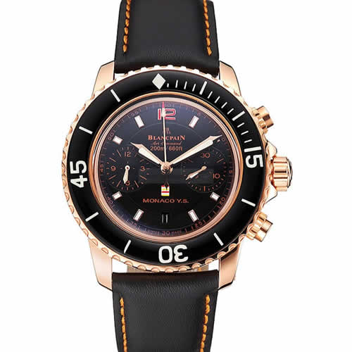 Swiss Blancpain Air Command Monaco YS Black Dial Rose Gold Case Black Leather Strap