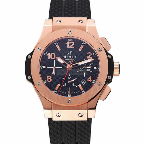 Swiss Hublot Big Bang Carbon Effect Dial Rose Gold Case Black Rubber Bracelet 1453897