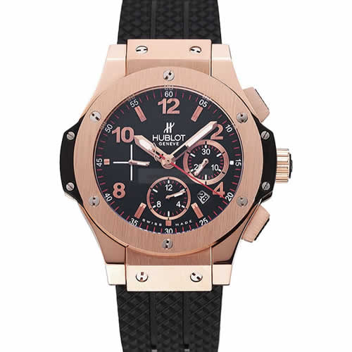 Swiss Hublot Big Bang Black Dial Rose Gold Case Black Rubber Bracelet 1453898