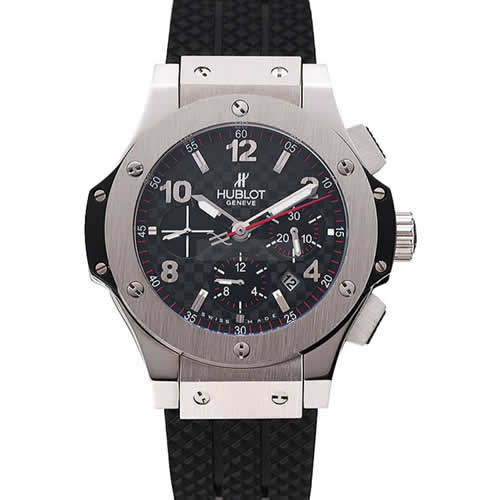 Swiss Hublot Big Bang Carbon Effect Dial Silver Case Black Rubber Bracelet 1453899