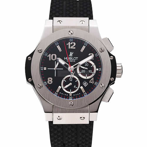 Swiss Hublot Big Bang Black Dial Silver Case Black Rubber Bracelet 1453900