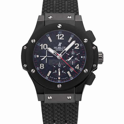 Swiss Hublot Big Bang Carbon Effect Dial Black Case Black Rubber Bracelet 1453902