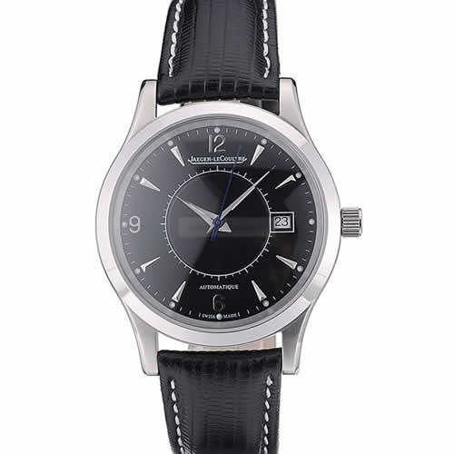 Jaeger Le Coultre Swiss Master Control Stainless Steel Bezel Black Leather Strap 7593