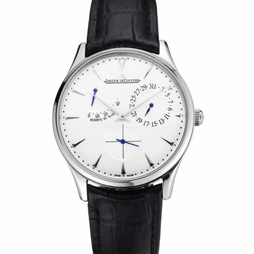 Swiss Jaeger LeCoultre Master Ultra Thin Reserve De Marche White Dial Stainless Steel Case Black Leather Strap