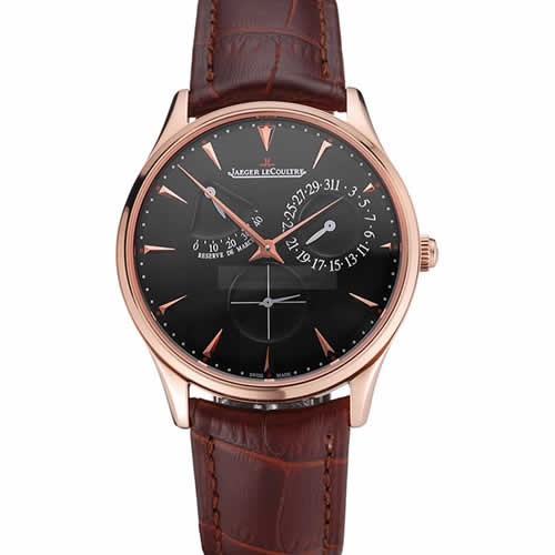Swiss Jaeger LeCoultre Master Ultra Thin Reserve De Marche Black Dial Rose Gold Case Brown Leather Strap