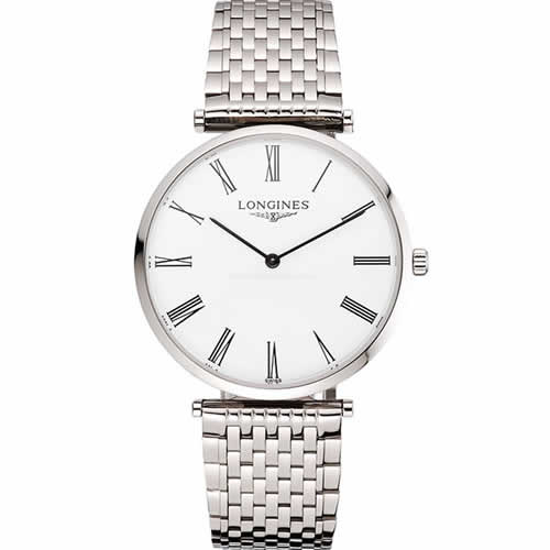 Swiss Longines Grande Classique White Dial Roman Numerals Stainless Steel Case And Bracelet