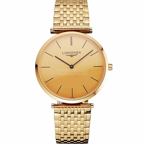 Swiss Longines Grande Classique Gold Dial Gold Case And Bracelet