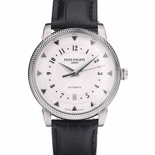 Patek Philippe Swiss Calatrava Ribbed Bezel White Dial Black Leather Strap 7657