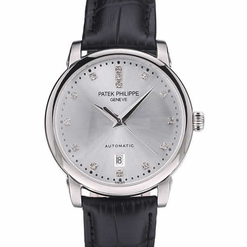 Patek Philippe Swiss Calatrava Polished Bezel Grey Dial Black Leather Strap 7659