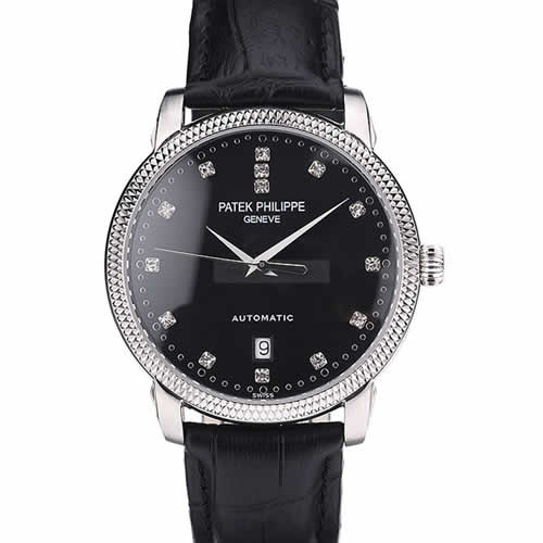 Patek Philippe Swiss Calatrava Ribbed Bezel Black Dial Black Leather Strap 7661