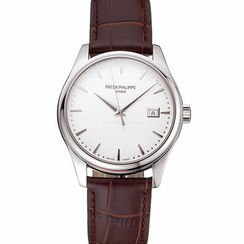 Swiss Patek Philippe Calatrava White Dial Stainless Steel Case Brown Leather Strap