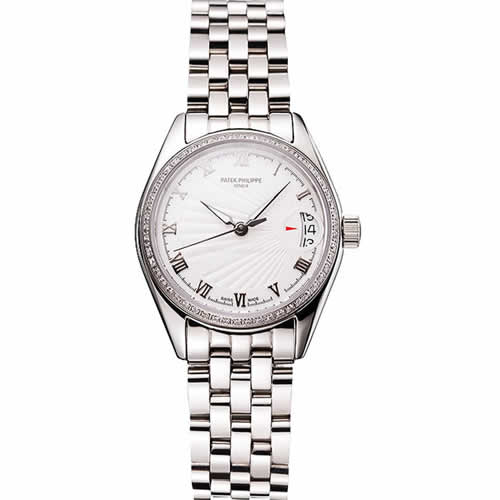 Swiss Patek Philippe Calatrava White Dial Diamond Bezel Stainless Steel Case And Bracelet