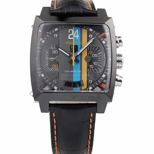Tag Heuer Swiss Monaco Black Leather Strap Blue-Yellow Striped Black Dial
