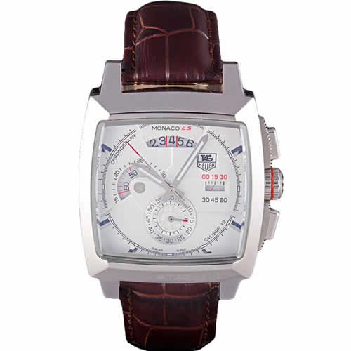 Tag Heuer Monaco Brushed Stainless Steel Case White Dial Brown Leather Strap 98173