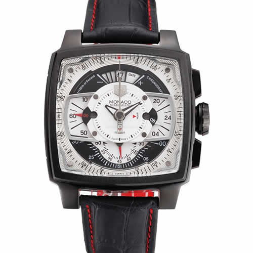Tag Heuer Monaco Black-Red Perforated Leather Strap White Dial 80307