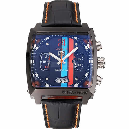 Tag Heuer Monaco Calibre 36 Blue And Orange Stripes Dial Black Leather Strap 622302