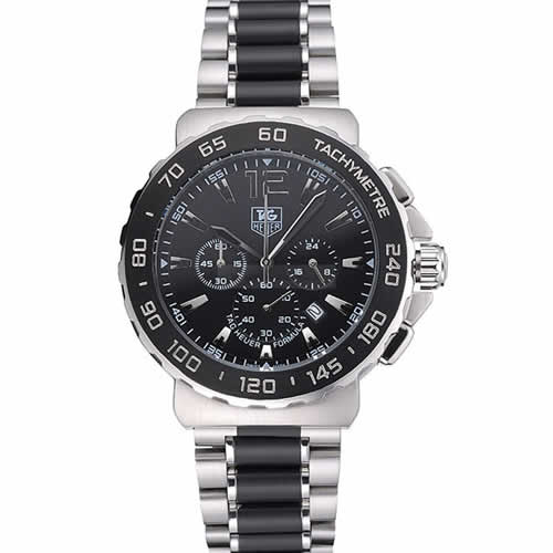 Tag Heuer Formula 1 Chronograph Black Dial Black Bezel Two Tone Stainless Steel Band   622412