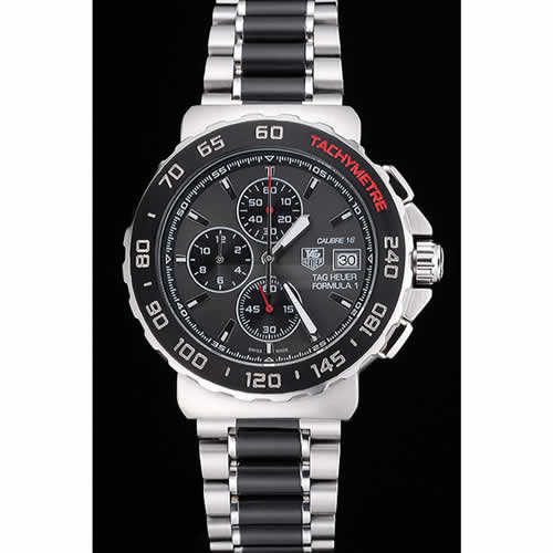 Tag Heuer Formula 1 Calibre 16 Chronograph Black Dial Two Tone Stainless Steel Band   622413