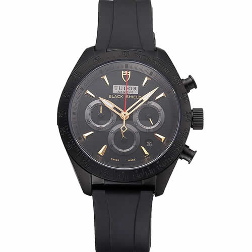 Tudor Fastrider Black Shield Black Dial Gold Markings Black Case Black Rubber Strap
