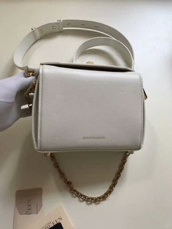 Replica New Fashion Cheap White Alexander Mcqueen Box Handbags