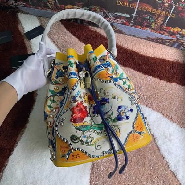 Replica New High Quality New Printing Dolce & Gabbana Crossbody Bucket Bag Outlet Online 02