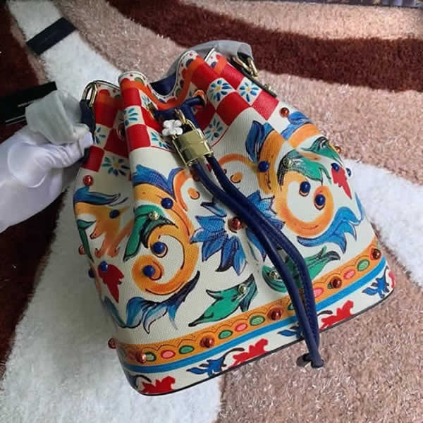 Replica New High Quality New Printing Dolce & Gabbana Crossbody Bucket Bag Outlet Online 04