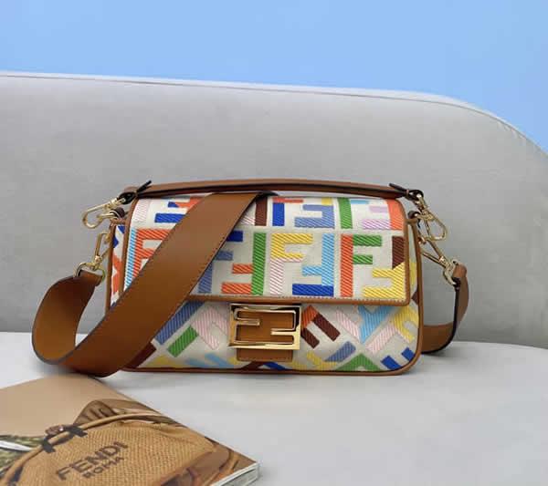 Fake Fendi Baguette Embroidered Printing Flap Crossbody Bag 0159M