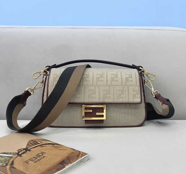 Fake Fendi Baguette Embroidered Khaki Flap Crossbody Bag 0159M