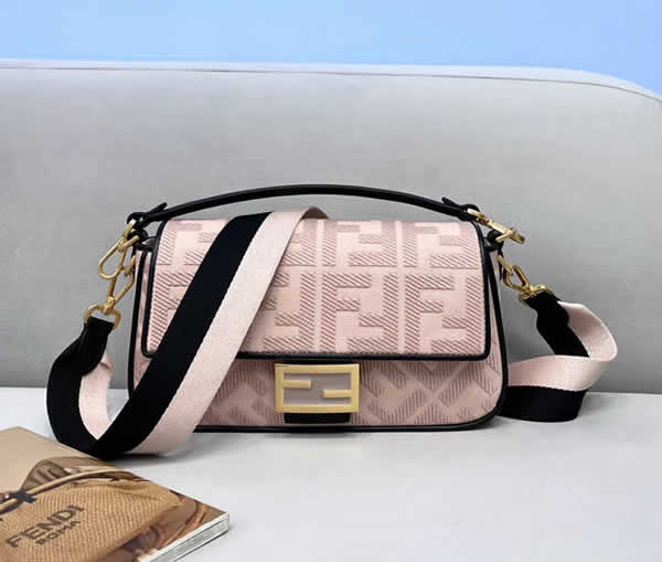 Fake Fendi Baguette Embroidered Pink Flap Crossbody Bag 0159M