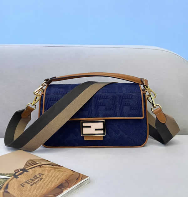 Fake Fendi Baguette Embroidered Blue Flap Crossbody Bag 0159M
