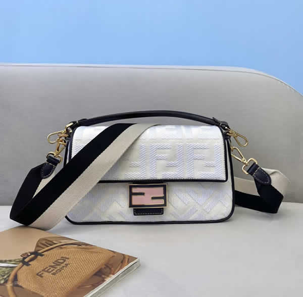 Fake Fendi Baguette Embroidered White Flap Crossbody Bag 0159M