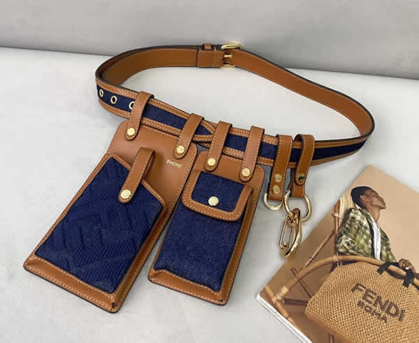 Replica Fendi Multifunctional Blue Phone Bag Waist Bag 593