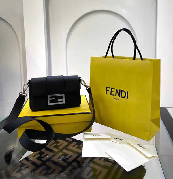 Fake Discount Fendi Baguette Black Flap Shoulder Crossbody Bag 0132