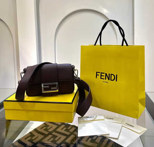 Fake Discount Fendi Baguette Brown Flap Shoulder Crossbody Bag 0132