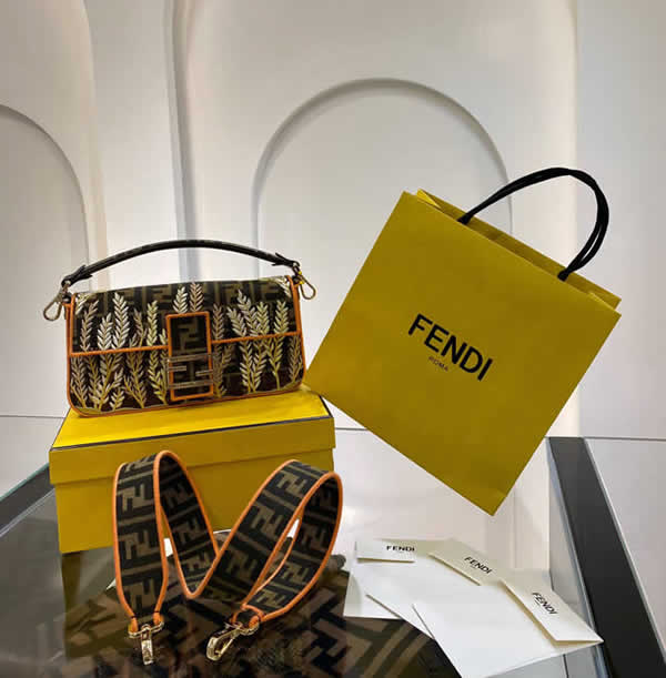 Replica Fendi Baguette Embroidered Yellow Tote Crossbody Bag 0196