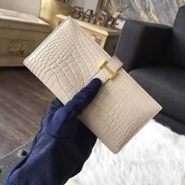 Imitation Hermes Bearn Wallet Matte Alligator Crocodile Gold Hardware Handstitched, Beton 8L RS08397