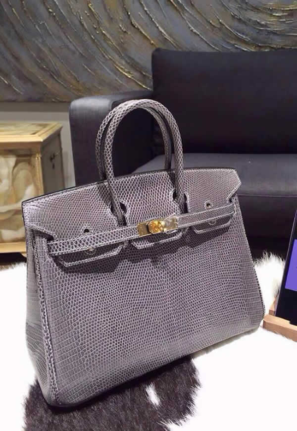 Hermes Birkin 25cm Lizard Hand Stitched Palladium Hardware, Graphit Gray RS13054